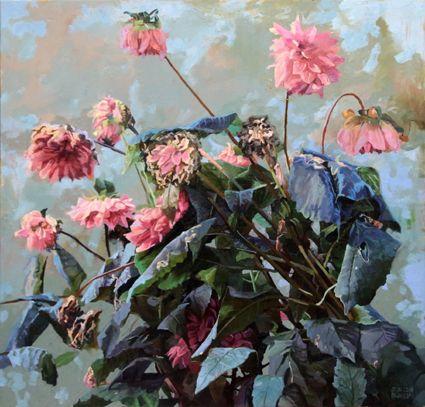 The frozen Dahlias..Oil on canvas 80 x 84cm. 2014.