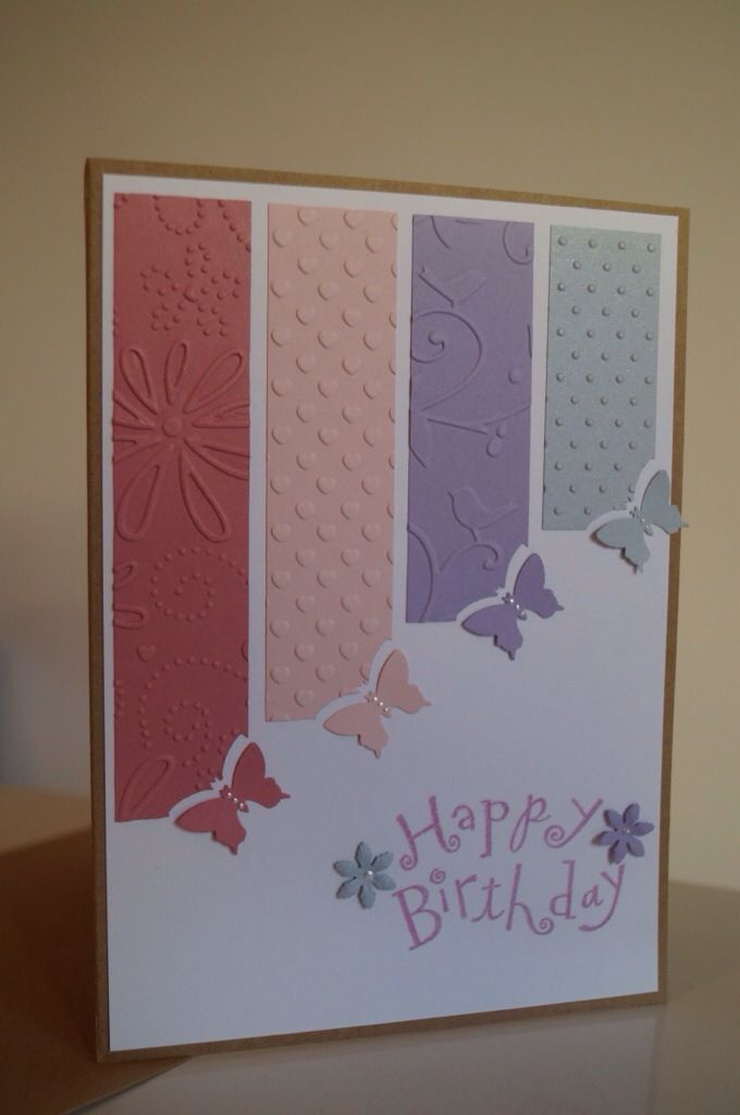 handmade birthday card ... good use of column ending in punched element technique ... little butterflies at an angle ... like it!!