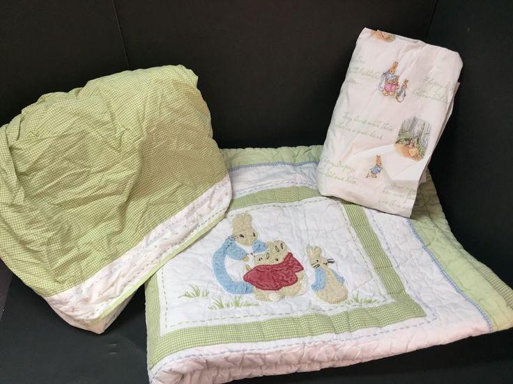 3pc Pottery Barn Kids Crib QUILT SHEET CribSkirt PETER RABBIT Beatrix Potter PrO #PotteryBarnKids