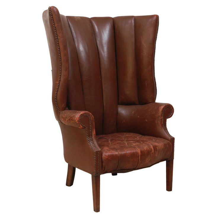 Wingback Chairs for Sale | 1930's Brown Leather Wingback Chair at 1stdibs