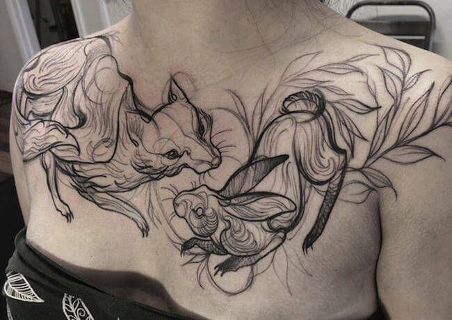 """Hoy vamos a mostraros un poco de tatuaje de inspiración! La artista canadiense Naomi Chi de Vancouver y desde su local """"Gastown tattoo"""" nos enseña sus bonitas obras a tinta. Especialmente impresionantes son sus trabajos de estilo de boceto. Naomi Chi basa su trabajo en su gran interés por el arte visual y la animación junto un proceso fresco y divertido en su estilo de tatuar como un boceto garabateado."""