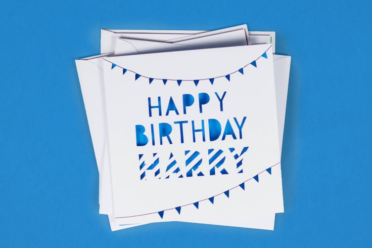 Personalised papercut birthday card, cutout bunting design, with geometric stripe typography by @PaperTone!