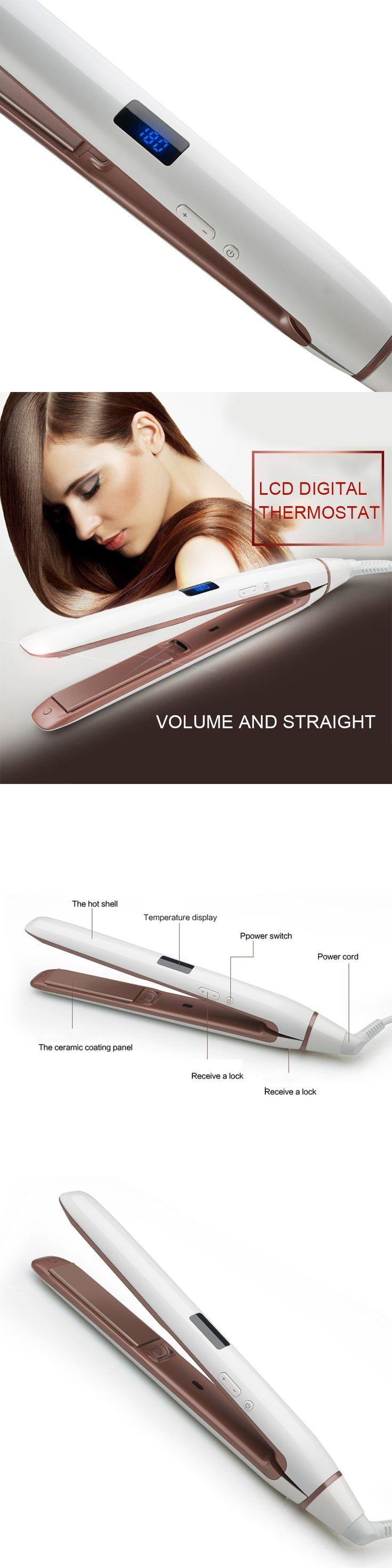 Multifunctional Hair Straightener Curling Iron Electric Hair Curler Flat Ceramic plate Hair straightening LCD digital thermostat