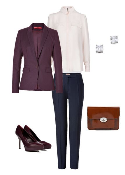 http://www.sofits.me/look/2603  Elegant and discreet office look for Marina. Plum, rose and ginger colours preserve it from being dull.  #Hugo #Cacharel #SergioRossi #Mango #ToscaBlu #look4like #sofitsme