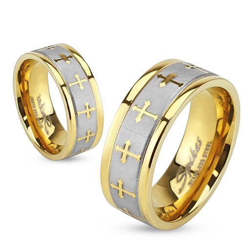 8mm Celtic Cross Gold IP Stainless Steel Ring w/ Brushed Center Two Tone Ring