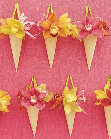 orchid pink orange yellow: Exotic Orchids, Paper Cones, Orchids Flowers, Decor Ideas, Silk Flowers, Flowers Favors, Hanging Flowers, Cymbidium Orchids, Winter Flowers