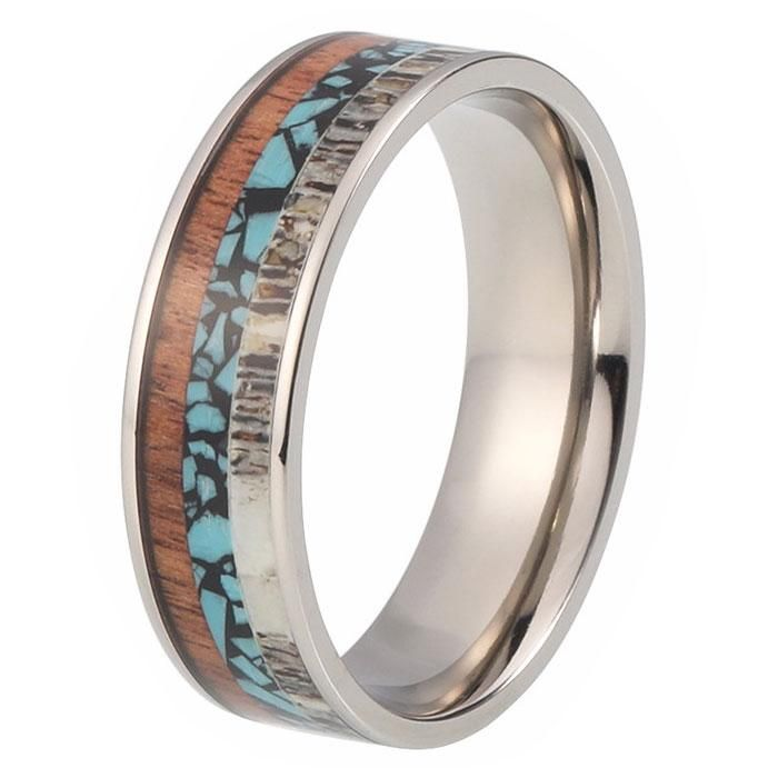8mm Tungsten Wedding Band Ring with Deer Antler Turquoise and Wood Inlay