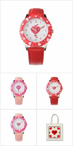 #Hearts #HeartWatch #HeartToteBag #PinkHeart and #RedHeart #Watches designed by Mannzie and sold on Zazzle. Heart collection.