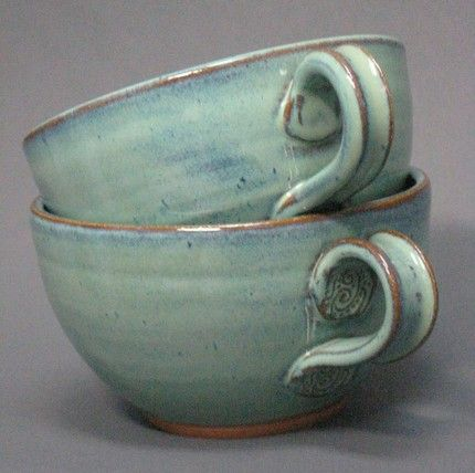 Set of large soup and chowder bowls with handles in green glaze These are intended for daily use though they are also decorative These make chili night special Hang them