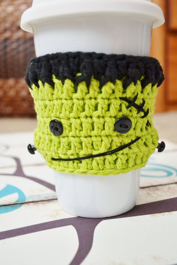 Frankenstein Crochet Coffee Sleeve by Bocozian on Etsy for Halloween!