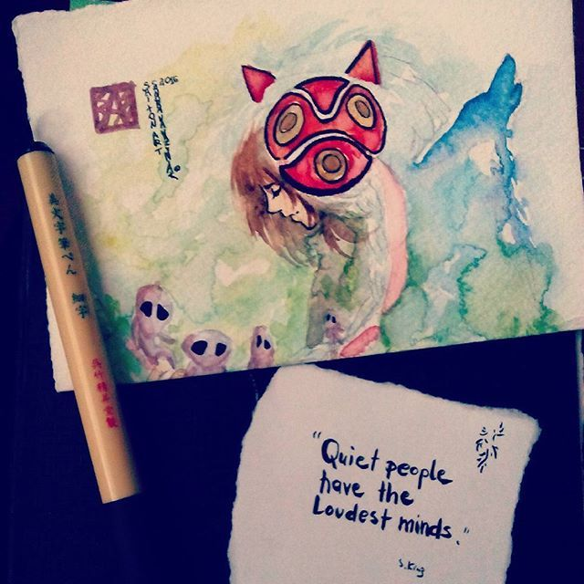 #mononoke #hime #quotes #stephenking & #fanart #drawing #painting #watercolor #anime #manga