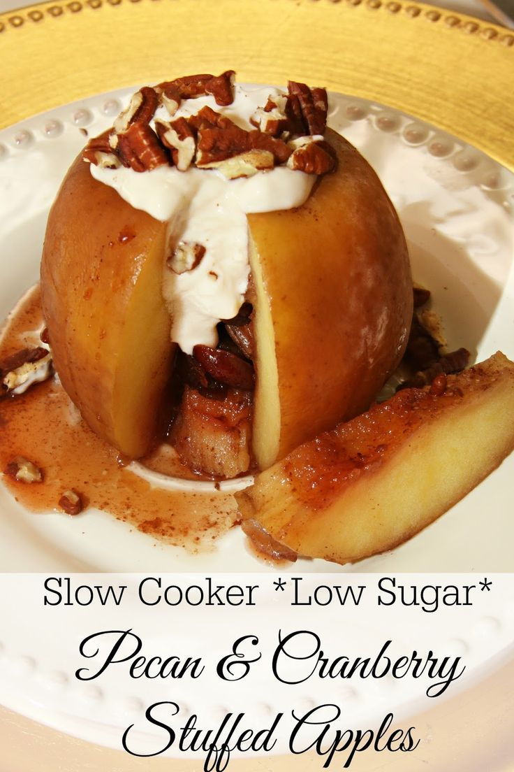 Slow Cooker Low Sugar Pecan and Cranberry Stuffed Apples - a skinny dessert baked in the Crock-Pot.