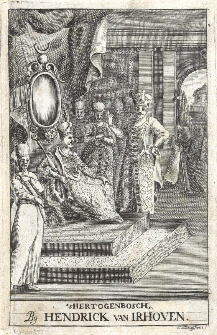 3. Mustafa 1757 - 1774 (allegoric). Sultan op troon luistert naar zijn staatsministers (vizieren), C. van Beughem, 1744.