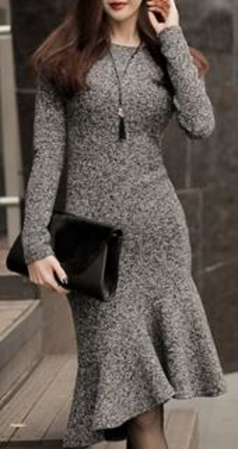 Charming Solid Color Long Sleeve Backless Bodycon Fishtail Dress For Women