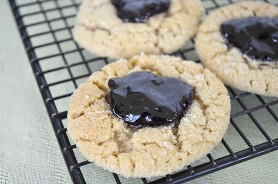 peanut butter and jelly cookies --> make a flourless peanut butter ...