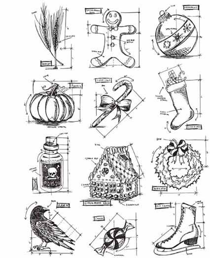 Stampers Anonymous - Tim Holtz - Cling Mounted Rubber Stamp Set - Mini Blueprints 5 at Scrapbook.com