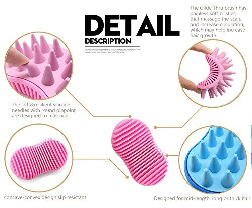 Silicone Shampoo Comb, Anti-skid Rubber Grooming Shower Bath Comb Massage Comb for Hair (pink) >>> You can find more details by visiting the image link. #hairfashion