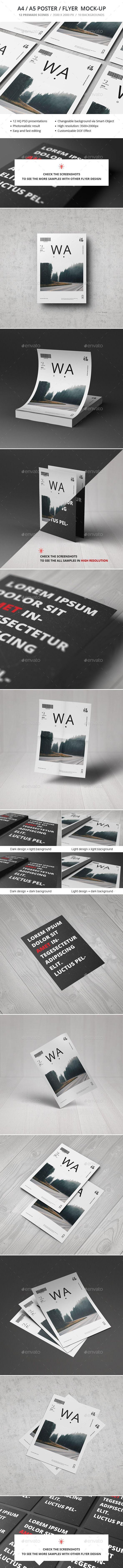 A4 / A5 / Poster / Flyer Mockup #design #presentation 7$ Download: http://graphicriver.net/item/a4-a5-poster-flyer-mockup/10989492?ref=ksioks