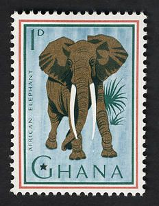 African Elephant, 1p  single  stamp from Ghana , circa 1964