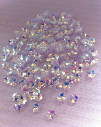 Sequins Flower Cup 5mm Diamond Crystal White AB Iris Rainbow Scallop Edge