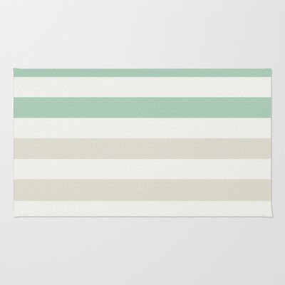Mint Pale And White Stripes Area Throw Rug By Zen Chic