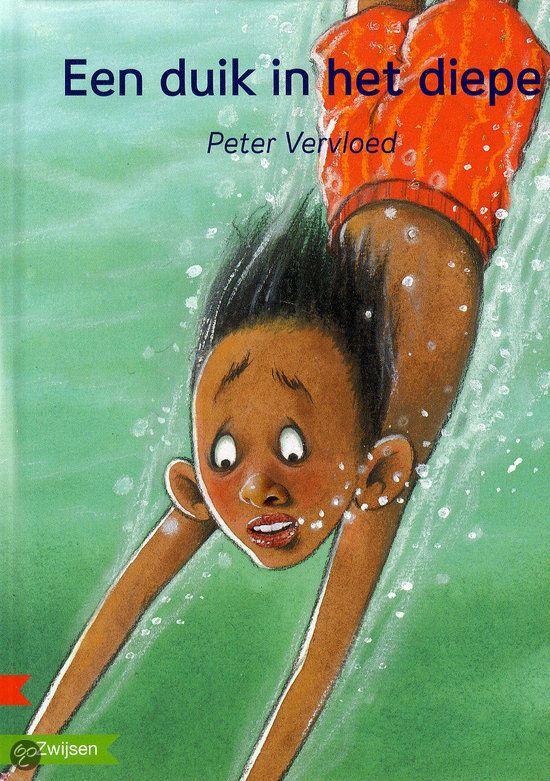 Een duik in het diepe - Circa 8 t/m 12 jaar. Joost houdt van zwemmen. In het diepe stoeit hij met zijn vriend. Dan klinkt de fluit van de badmeester. 'Jij kunt niet goed zwemmen', zegt hij. Joost moet een proef doen. Hij schaamt zich diep. Maar dan gebeurt er iets'