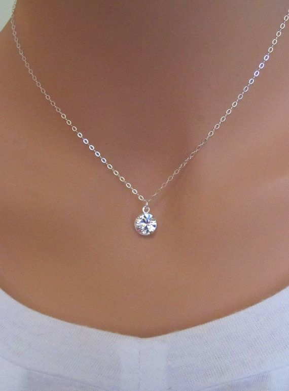 Clear Swarovski Drop Sterling Silver Necklace by RoyalGoldGifts, $21.00