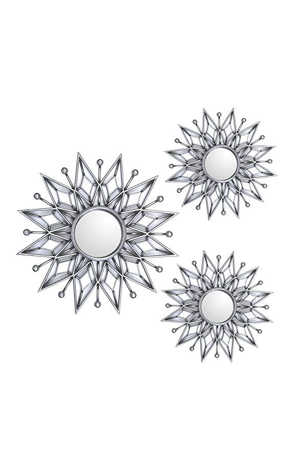 All American Collection New Separated 3 Piece Decorative Mirror Set Wall Accent Display Silver Star Mirror Set Mirror Decor 3 Mirrors Set
