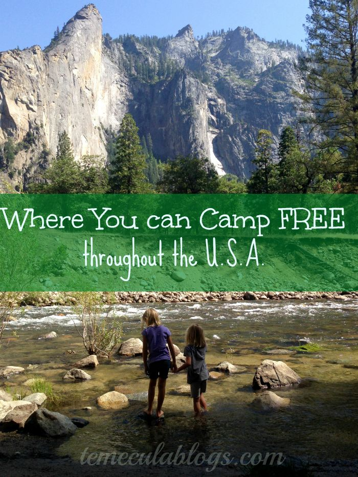 Places you can camp for free within the United States in a tent or an RV. Some have a small fee but most are free to use. Great resource when camping. #free #camping #rv #tent #camp