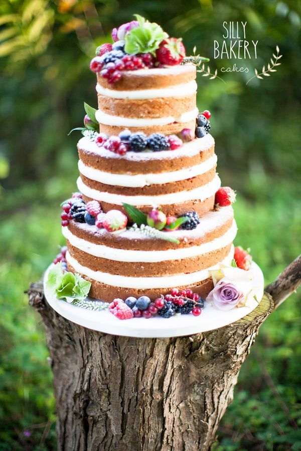 naked wedding cake for fall wedding
