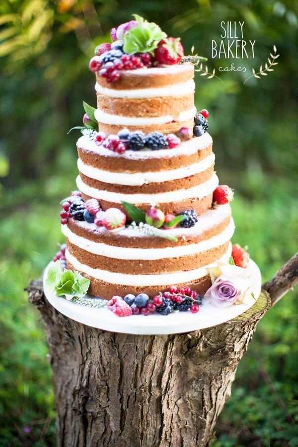 naked wedding cake for fall wedding