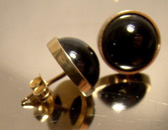 14k Yellow Gold & Black ONYX DOME EARRINGS 1960s 14 K Post