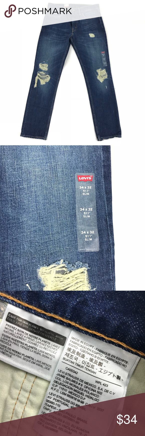 NWT LEVI'S 511 Jeans 32 x 32 Mens Blue Distressed NWT LEVI'S 511 Jeans 32 x 32 Mens Blue Distressed  Very nice pair of jeans. Brand new with tags. Never worn.   Actual size is different than size on tags. Levi's Jeans Slim Straight #mensjeansbrands