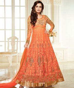 Buy Dia Mirza Orange Georgette Long Anarkali Suit 77257 online at lowest price from huge collection of salwar kameez at Indianclothstore.com.