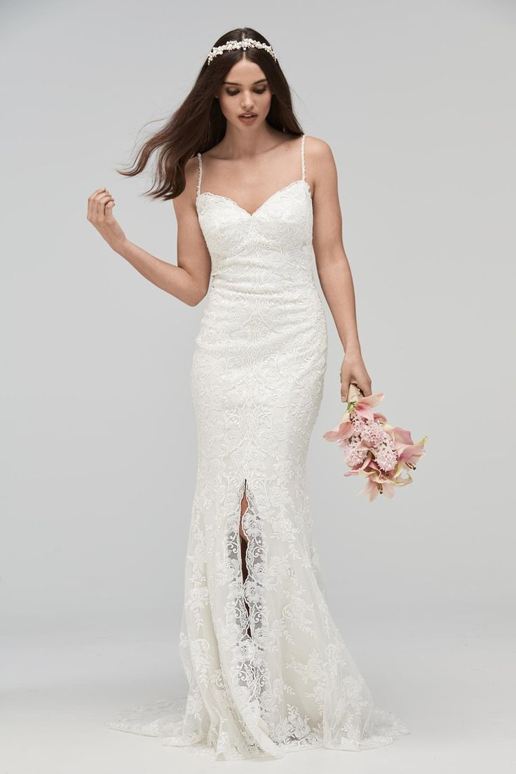 fall bridal party pictures%0A Wtoo by Watters Fall      lace wedding dress with front slit and spaghetti  straps