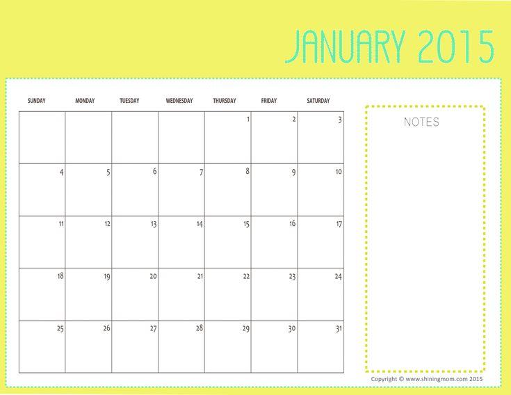 Free Printable January 2015 Calendars
