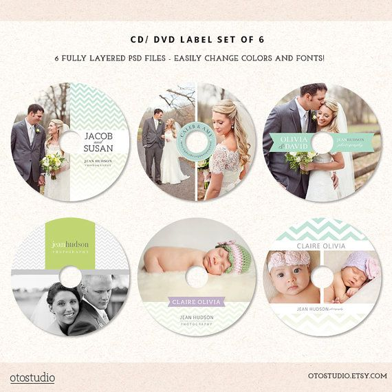 DVD CD Labels Templates for photographers Set of 6 by OtoStudio