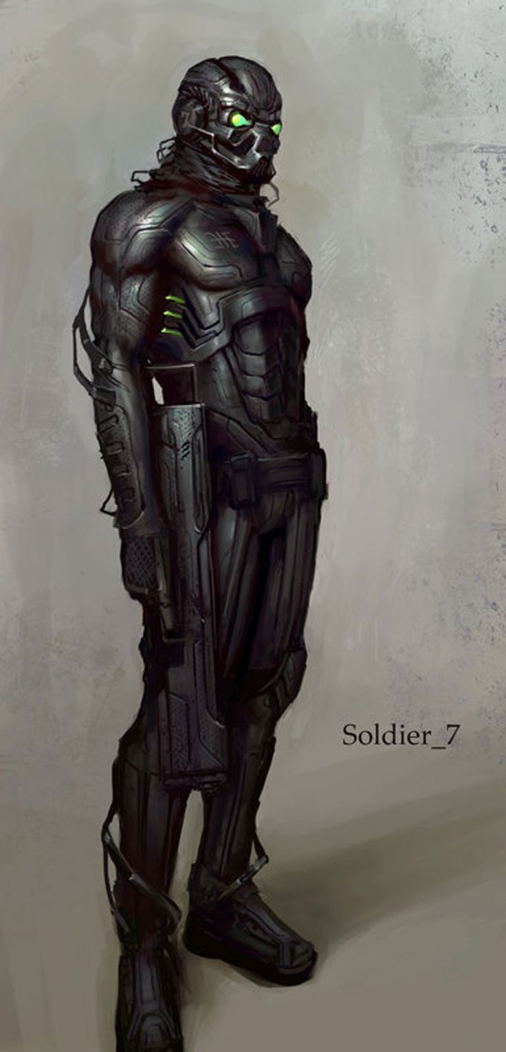 Soldier Drawing Illustration by Jon McCoy, armor, future, futuristic, cyber, cyborg, future soldier, cyberpunk