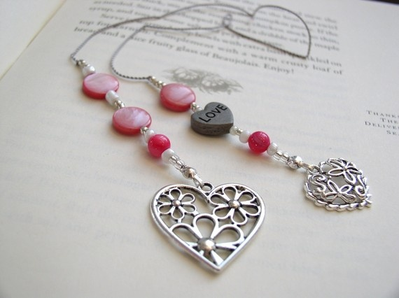 Lots of LOVE Beaded Book Thong Bookmark in Rich Pink Mother of Pearl with Silver Filigree Heart Charms - these are such beautiful bookmarks!!