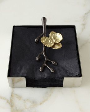 Gold Orchid Cocktail Napkin Holder - contemporary - Napkin Rings - Horchow