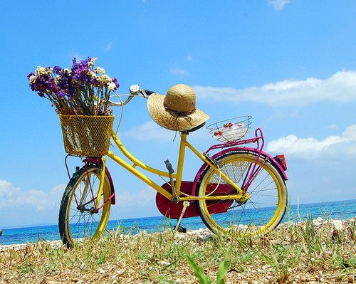 .love the yellow and the flowers: At The Beaches, Bicycles, Summer Day, Bike Riding, Seaside, Baskets, Flowers, Lemon Yellow, Vintage Bike