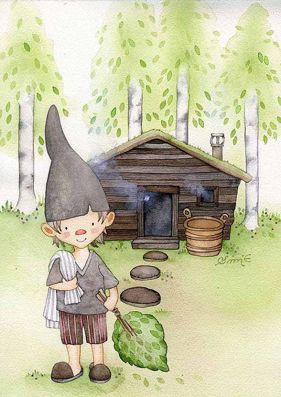 Sauna Elf -  Art Print / from original watercolor painting by Sini Ezer.  Smooth Matte paper  Size: A4, Ships worldwide from Finland