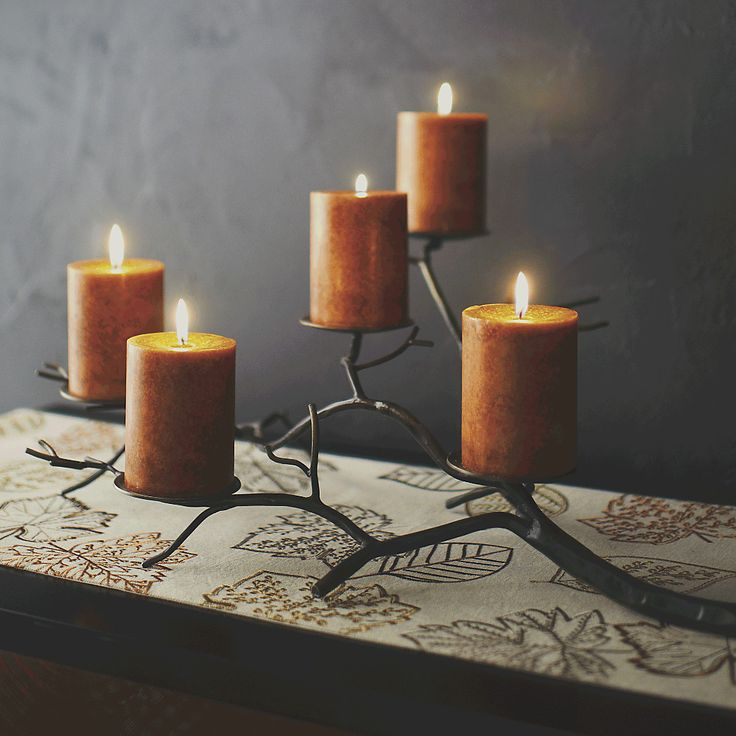Shop Branch Brass Pillar Candle Holder. Graceful tree limb stretches realistic-looking branches of hand-wrought iron, studded with disks to support a flowering of pillar candles. Perfect for creating a warm, rustic and classic fall table.