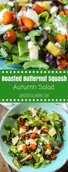 Easy Roasted Butternut Squash Salad with Feta, Pears, Cranberries and a Homemade Apple Cider Salad Dressing #Fall #Salad #Thanksgiving | Autumn Salad | Thanksgiving Salad | Pear Salad | Fall Fruit Salad | Butternut Squash Recipe | Gluten Free Salad