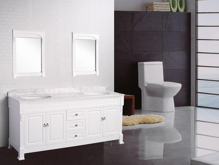 Antique Bathroom Vanity Marble Top Vincent 1800 White