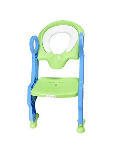 CharaVector Baby Potty Toilet Training Chair Seat Step Ladder Training for Toddler Mix Green and Blue  Environmental friendly: environmental PP material, non-toxic and fastness.  Durable: superior high-density materials, ensure the quality.  Safety: close handle design, fin shaped anti-skid pedal and the non slip mat.  Convenience: easy to install and use, foldable design helping to place it.  Useful: helping children to develop a habit of toilet independence.