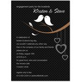 Lovely Birds Modern Black Wedding Wedding Invitation Card