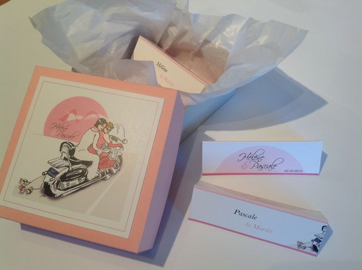 """Collection mariage """"Moto - Harley"""". Chevalet, marque-place nominatif. Boîte d'emballage personnalisée. Mariage gay."""