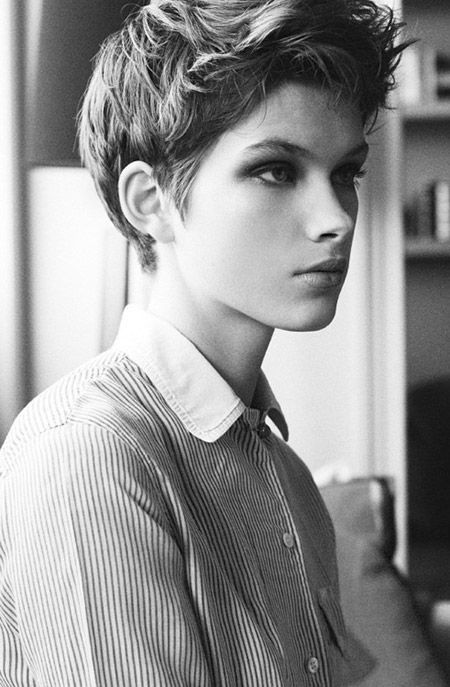 The Very Cool and Charming Pixie Cut This pixie cut is truly very short with those fine strands of short hair creating a very cool boyish look.