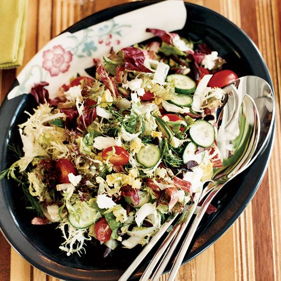 """Chopped Greek Salad with Shallot Vinaigrette 